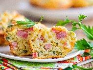 Солени мъфини / кексчета с колбас, шунка и кашкавал